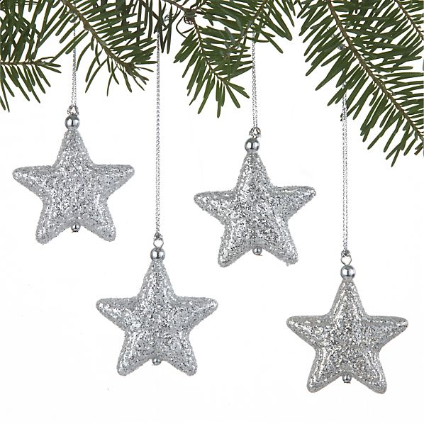 Set of 4 Glitter Star Silver Ornaments