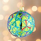 Glitter Starflake Green Ball Ornament