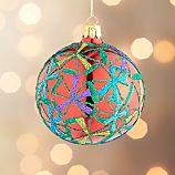 Glitter Starflake Red Ball Ornament