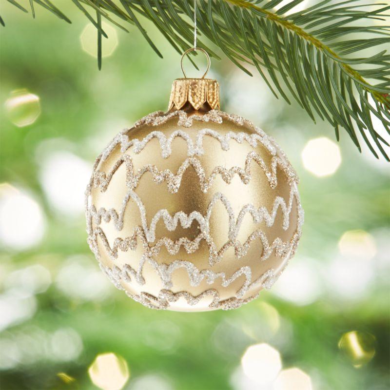 Glitter Streamer Champagne Gold Ball Ornament