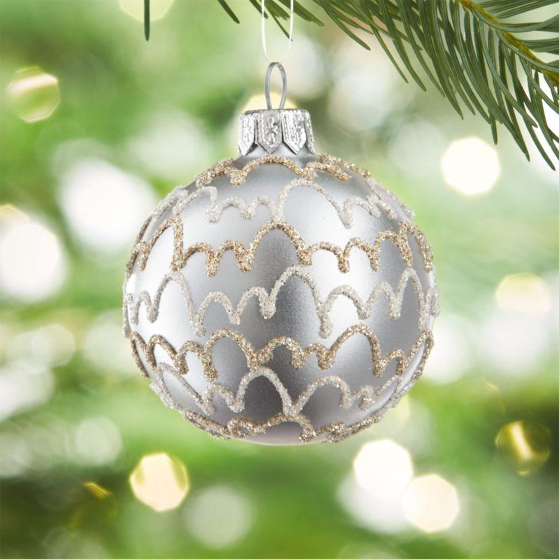 Glitter Streamer Silver Ball Ornament