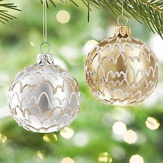 Glitter Streamer Ball Ornaments