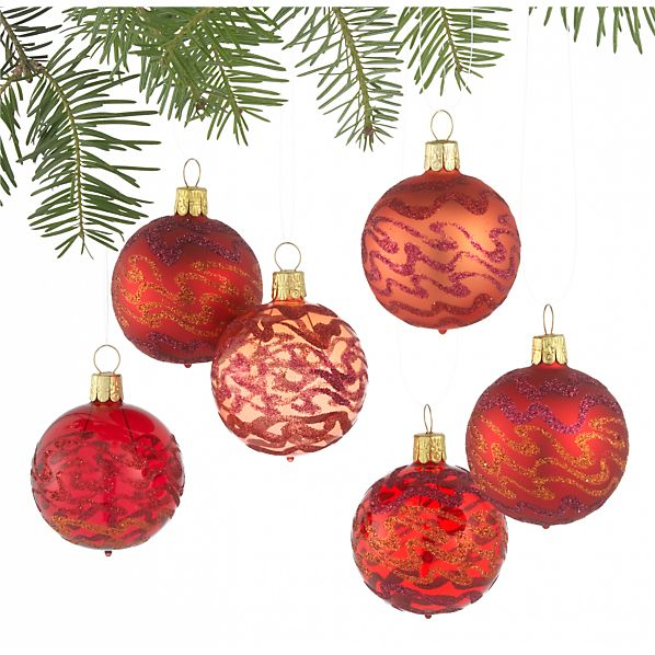 Set of 6 Glitter Wave Red Ball Ornaments