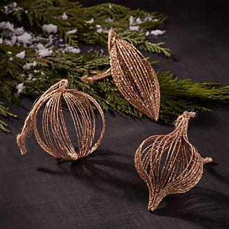 Glitter Wire Champagne Gold Ornaments