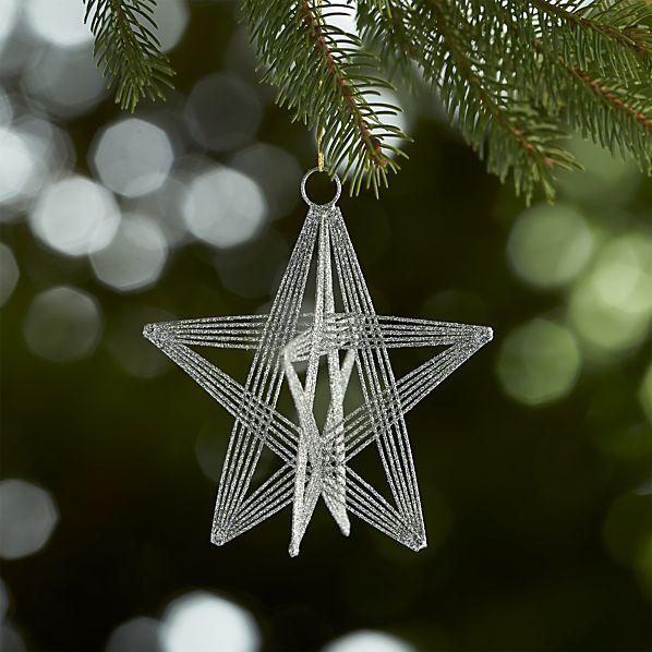 Silver Glitter Wire Star Ornament