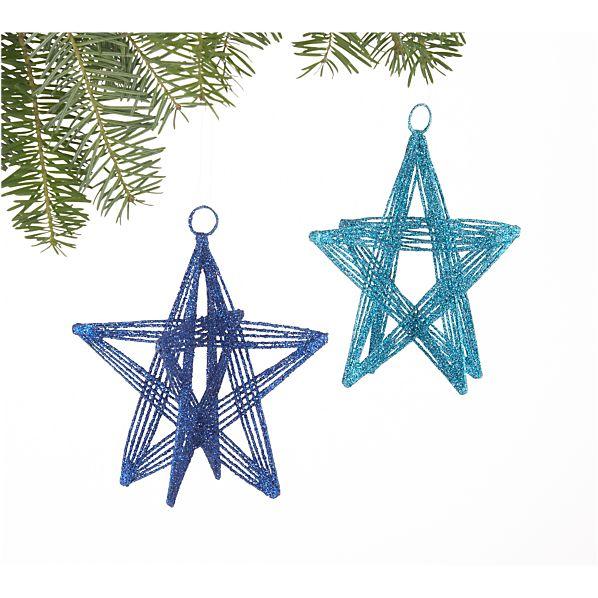 Set of 2 Blue Glitter Wire Star Ornaments