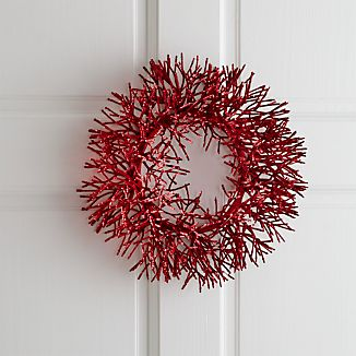 Petite wreath sparkles a plenty, shimmering red on the door or encircling a pillar candle. Beautifully surrounds a three-inch pillar candle.