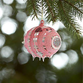 Glittered Glass Pink Pig Ornament