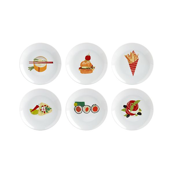 """Set of 6 Global Bites 6.75"""" Appetizer Plates"""