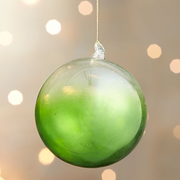 Green Global Dip Dyed Ball Ornament