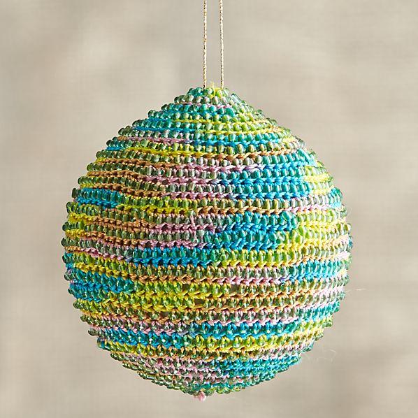 Orange-Yellow-Blue Global Thread Ball Ornament