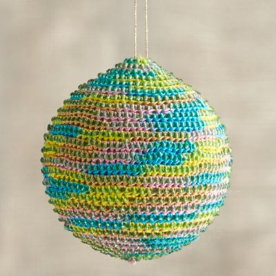 Orange-Yellow-Blue Global Thread Ball Ornament