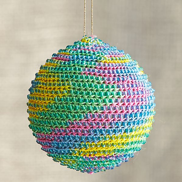 Yellow-Blue-Pink Global Thread Ball Ornament