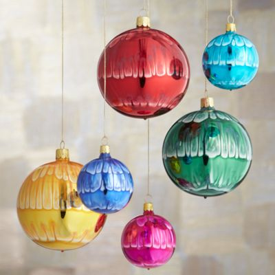 Set of 6 Global Tie Dye Ball Ornaments