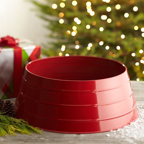 Glossy Red Tree Collar in Tree & Mantel Decorations | Crate and Barrel