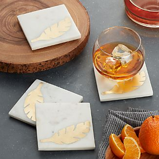 Set of 4 Gold Leaf and Marble Coasters