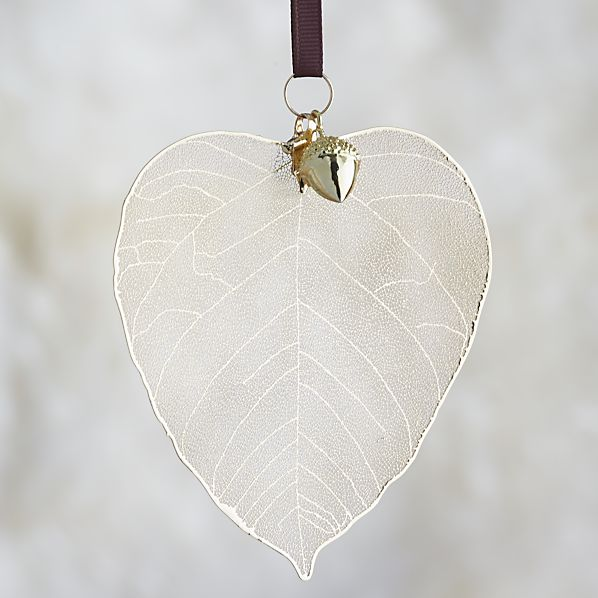 Gold Birch Leaf with Acorn Ornament