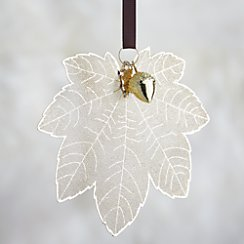 Gold Maple Leaf with Acorn Ornament
