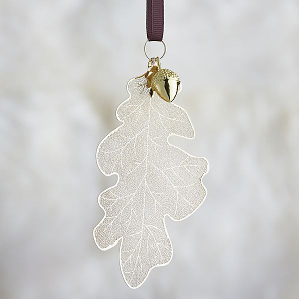 Gold Oak Leaf with Acorn Ornament