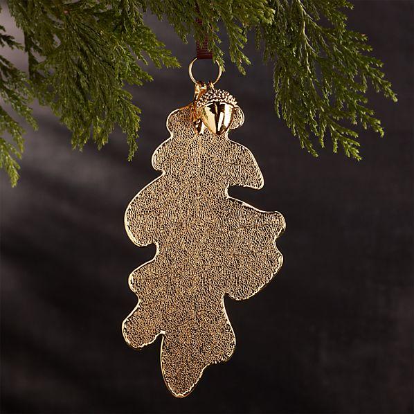 Gold Oak Leaf with Acorn Ornament