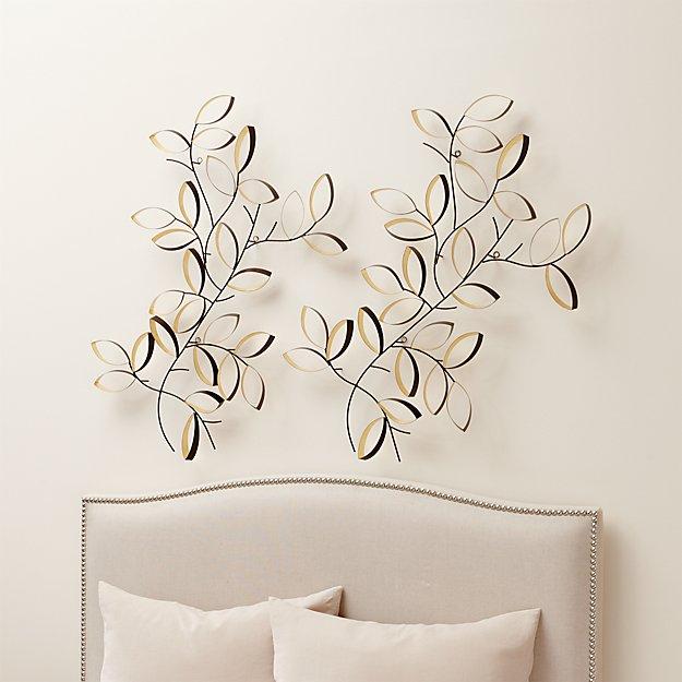 Set of 2 Golden Leaves Wall Art