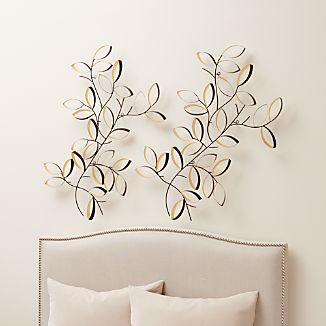 Set of 2 Golden Leaves Wall Art