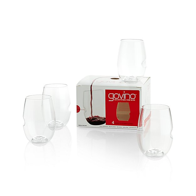 Govino shatterproof plastic stemless wine glass set of 4 Wine glasses to go