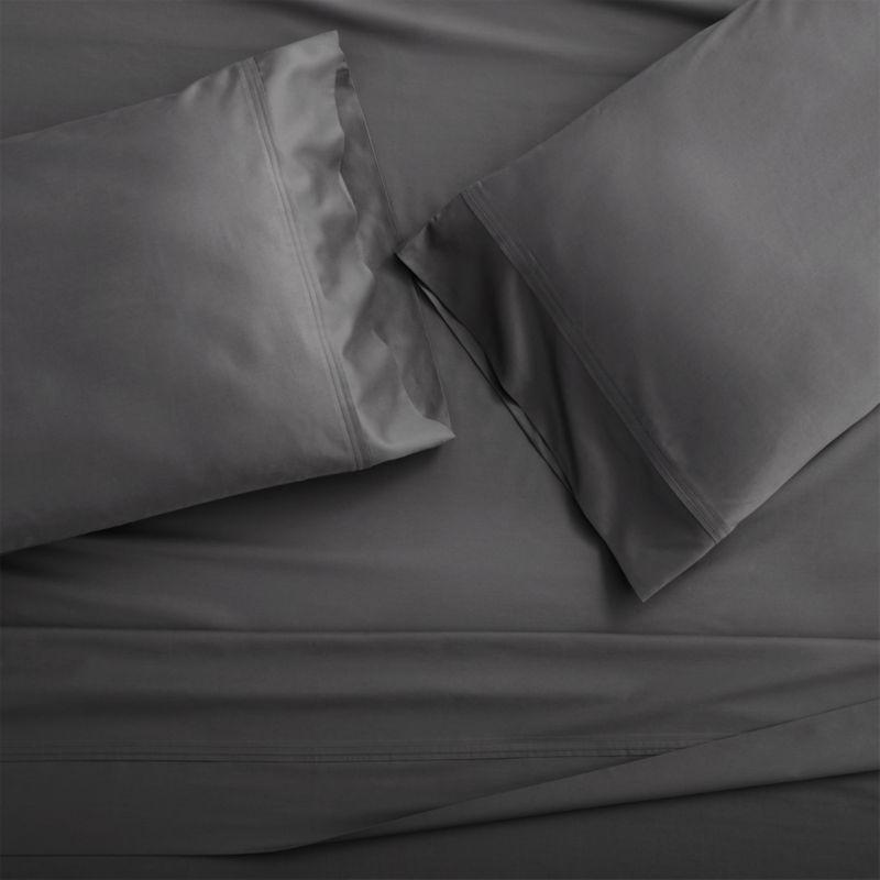 Set of 2 Grace Charcoal Standard Pillow Cases