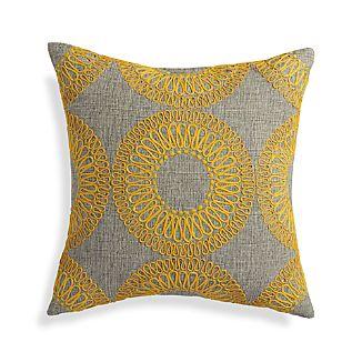 "Gracie Yellow 18"" Pillow"