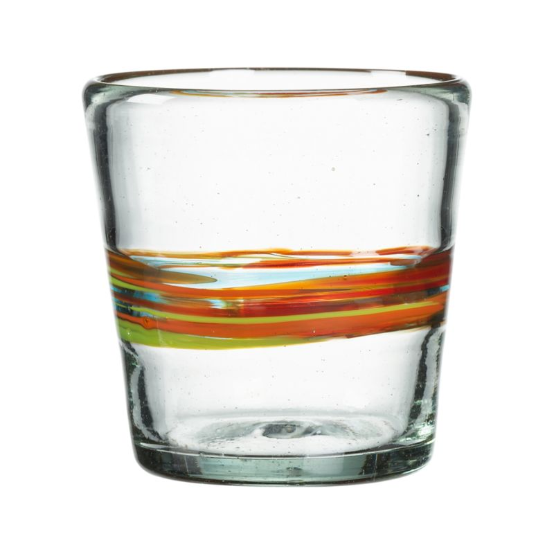 Chunky shape banded with streamers of color. Clear recycled glass is handmade and swirled with orange, red, yellow and turquoise recycled glass to create each unique piece.<br /><br /><NEWTAG/><ul><li>Handmade of 100% recycled glass</li><li>Dishwasher-safe</li><li>Made in Mexico</li></ul><br />