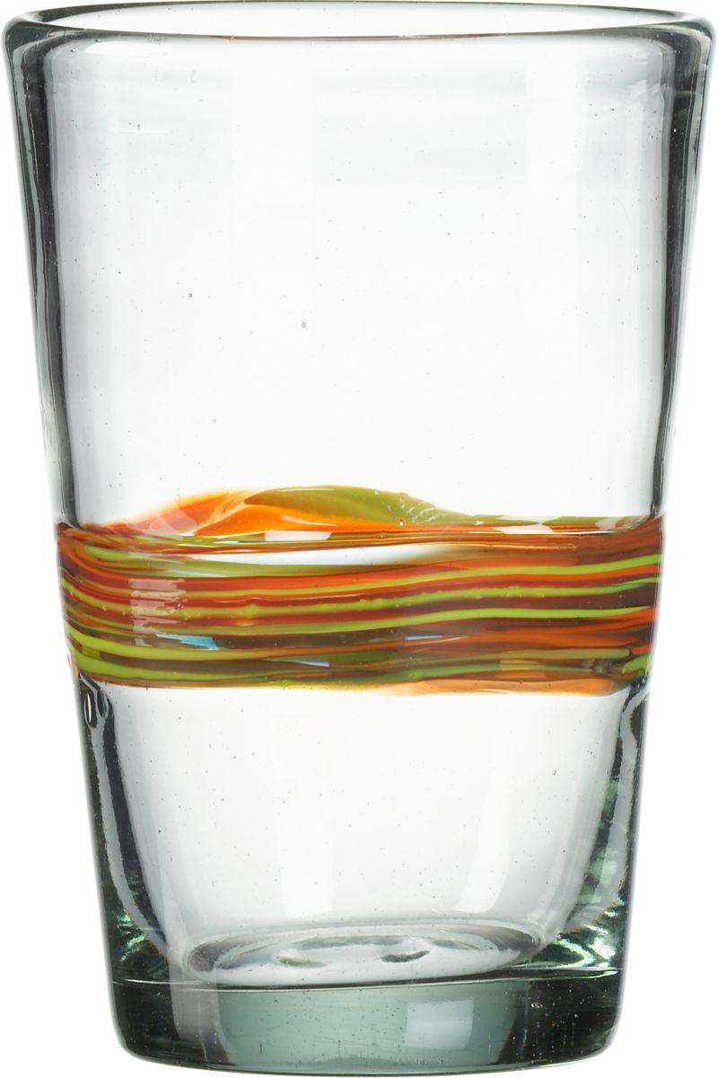 Chunky shape banded with streamers of color. Clear recycled glass is handmade and swirled with orange, red, yellow and turquoise recycled glass to create each unique piece.<br /><br /><NEWTAG/><ul><li>Handmade of 100% recycled glass</li><li>Dishwasher-safe</li></ul><br />