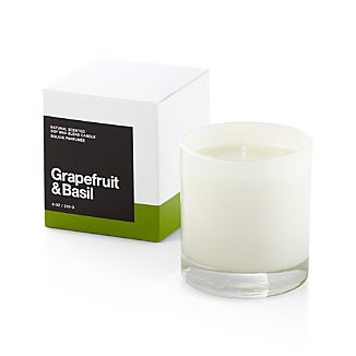 A flicker of fragrance to renew home and spirit. Our exclusive collection of handpoured, soy-blend candles brings together unique scent pairings to express your style and mood. The uplifting tang of grapefruit and the peppery spice of basil mingle with essences of lemon zest, green leaf, garden mint, herbs and blond woods.