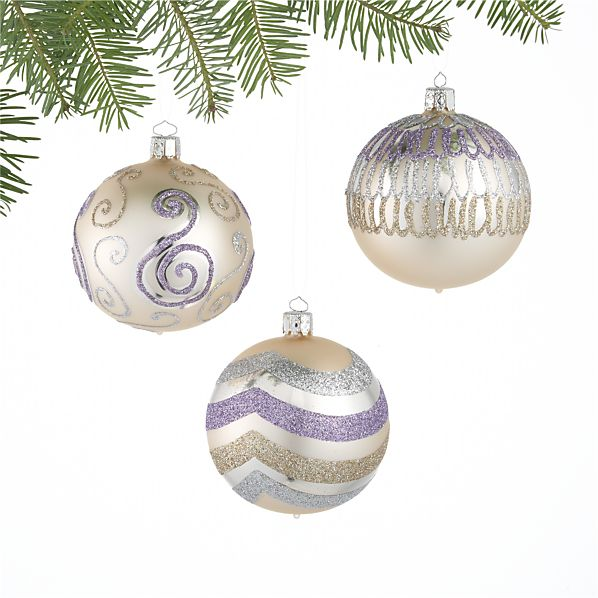 Set of 3 Graphic Ball Ornaments