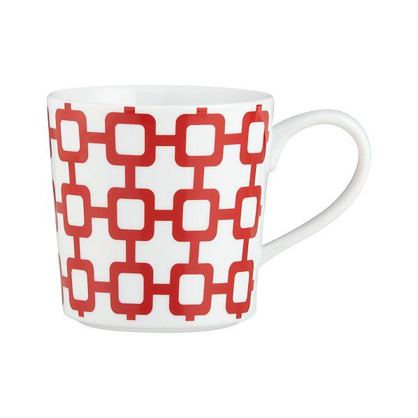Graphic Red Grid Mug