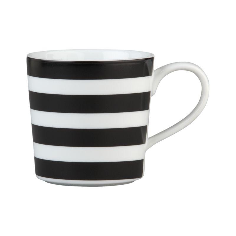Bold design on a contemporary white porcelain mug adds a graphic punch at coffee time.<br /><br /><NEWTAG/><ul><li>Porcelain</li><li>Dishwasher-, microwave-, freezer- and oven-safe to 395 degrees</li><li>Made in China</li></ul>