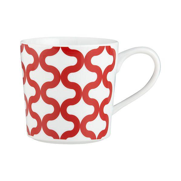 Graphic Red  Waves Mug
