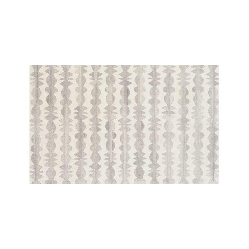 Graphite Neutral Striped Wool 5'x8' Rug