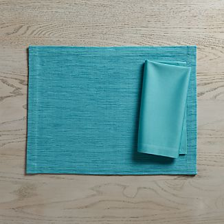 Grasscloth Aqua Placemat and Fete Aqua Cloth Napkin