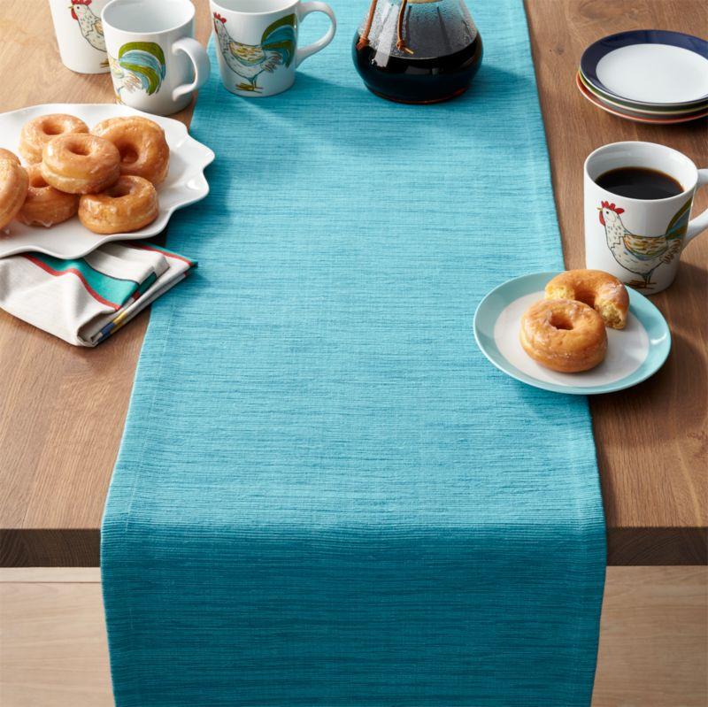 """Grasscloth 90"""" Aqua Blue Table Runner"""