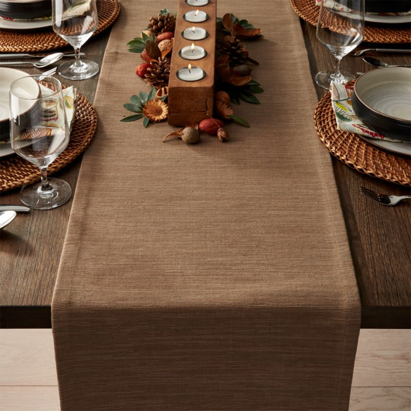 Grasscloth 90 Quot Brindle Brown Table Runner Crate And Barrel