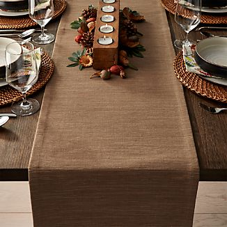 "Grasscloth 90"" Brindle Brown Table Runner"