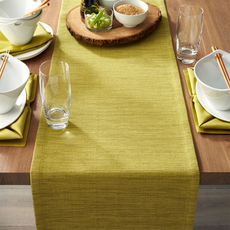 Grasscloth 90 Quot Green Table Runner Crate And Barrel