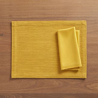 Grasscloth Mustard Placemat and Fete Mustard Cotton Napkin