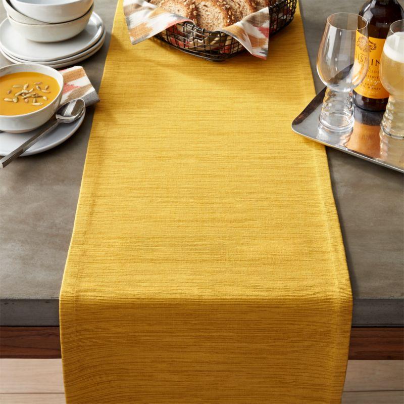 """Grasscloth 90"""" Mustard Table Runner"""