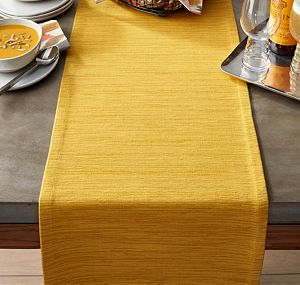 "Grasscloth 90"" Mustard Table Runner"