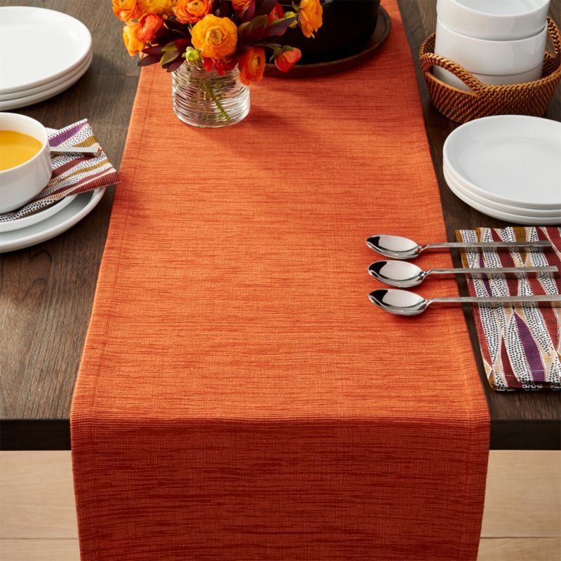 Grasscloth 90quot Orange Table Runner Crate and Barrel : GrassclothOrangeTableRunner90inSHF16 from www.crateandbarrel.com size 800 x 800 jpeg 116kB