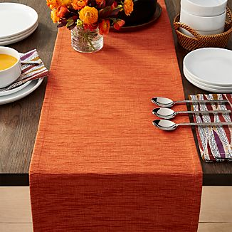 "Grasscloth 90"" Orange Table Runner"