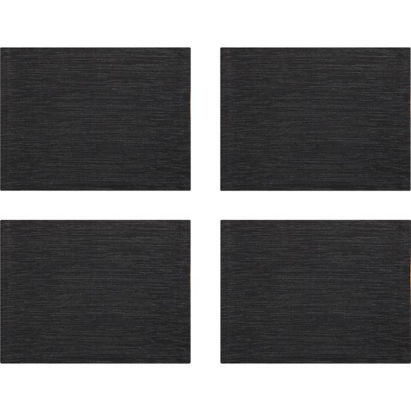 Set of 4 Grasscloth Black Placemats