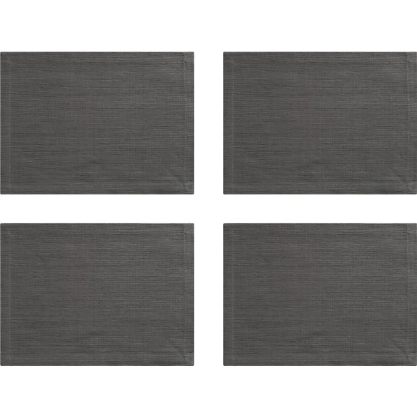 Grasscloth Graphite Placemats Set of Four