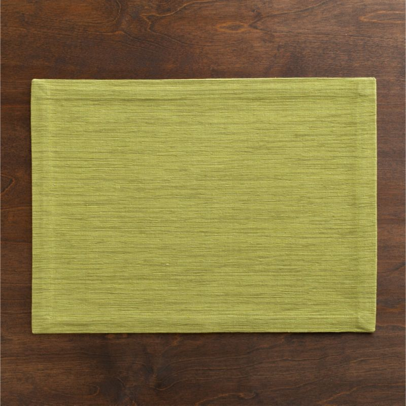 Rich hand-dyed colors in subtle tone-on-tone hues are handwoven into a grasscloth textured placemat.<br /><br /><NEWTAG/><ul><li>100% cotton</li><li>Hand-dyed and handwoven</li><li>Machine wash placemat; dry flat and iron damp</li><li>Made in India</li></ul>